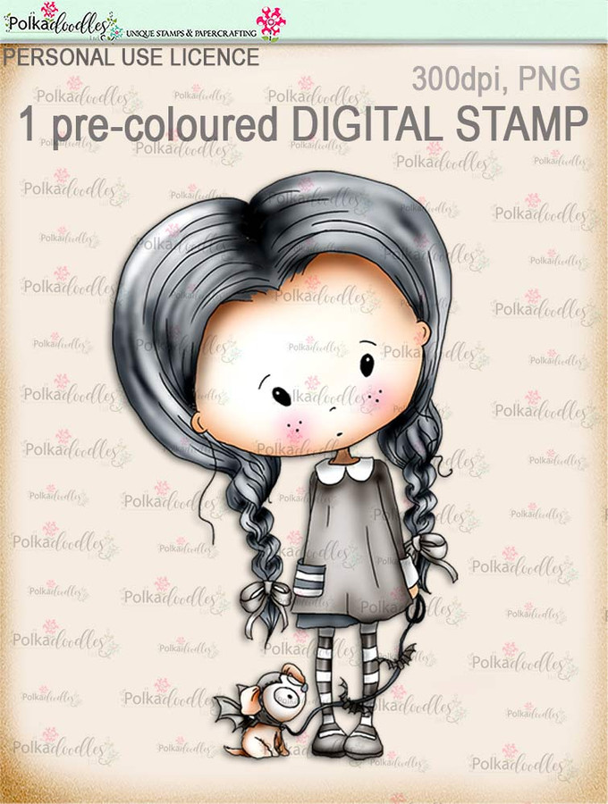 Winnie Wednesday Bat Dog - Digital Stamp download printable clipart. Craft printable download digital stamps/digi scrap