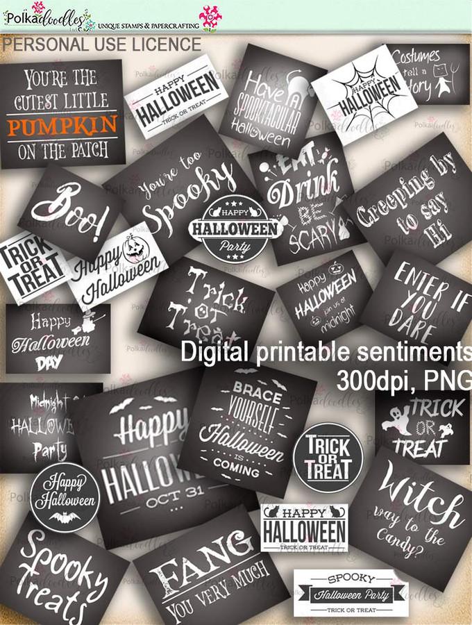 Printable download Halloween Trick or Treat Sentiments - Digital Stamp download printable clipart. Craft printable download digital stamps/digi scrap
