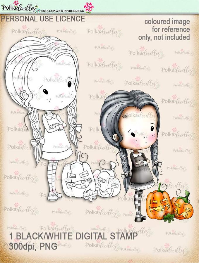 Winnie Wednesday Pumpkins - Digital Stamp download printable clipart. Craft printable download digital stamps/digi scrap