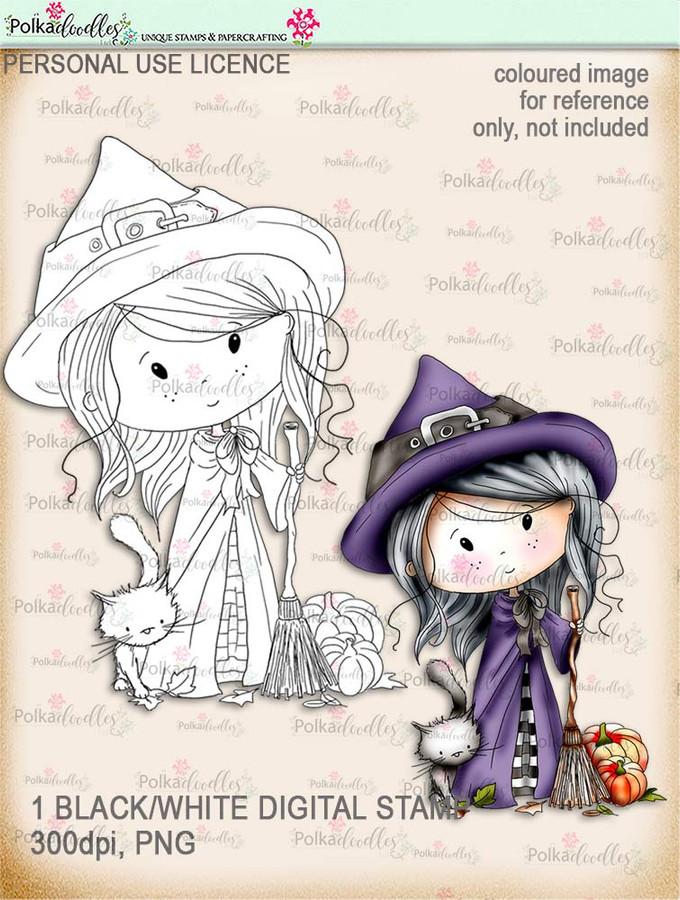 Winnie Wednesday Witch Digi stamp Printable download Halloween Trick or Treat  - Digital Stamp download printable clipart.
