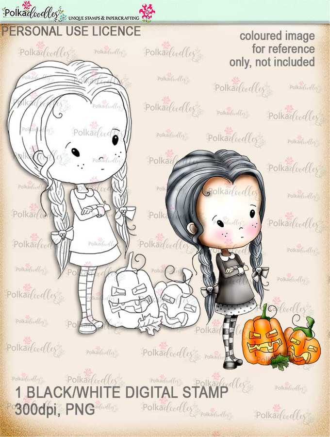 Winnie Wednesday pumpkin Digi stamp Printable download Halloween Trick or Treat  - Digital Stamp download printable clipart.