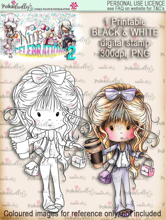 Winnie Celebrations 2...New Job black & white digi stamp printable download