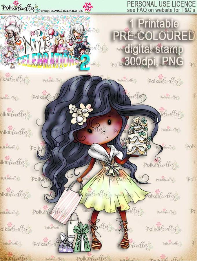 Winnie Celebrations 2...Cake time!  COLOURED digi stamp printable download