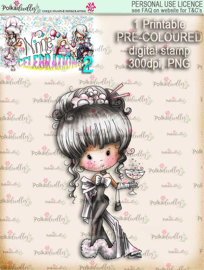 Winnie Celebrations 2...Champagne Celebration  COLOURED digi stamp printable download