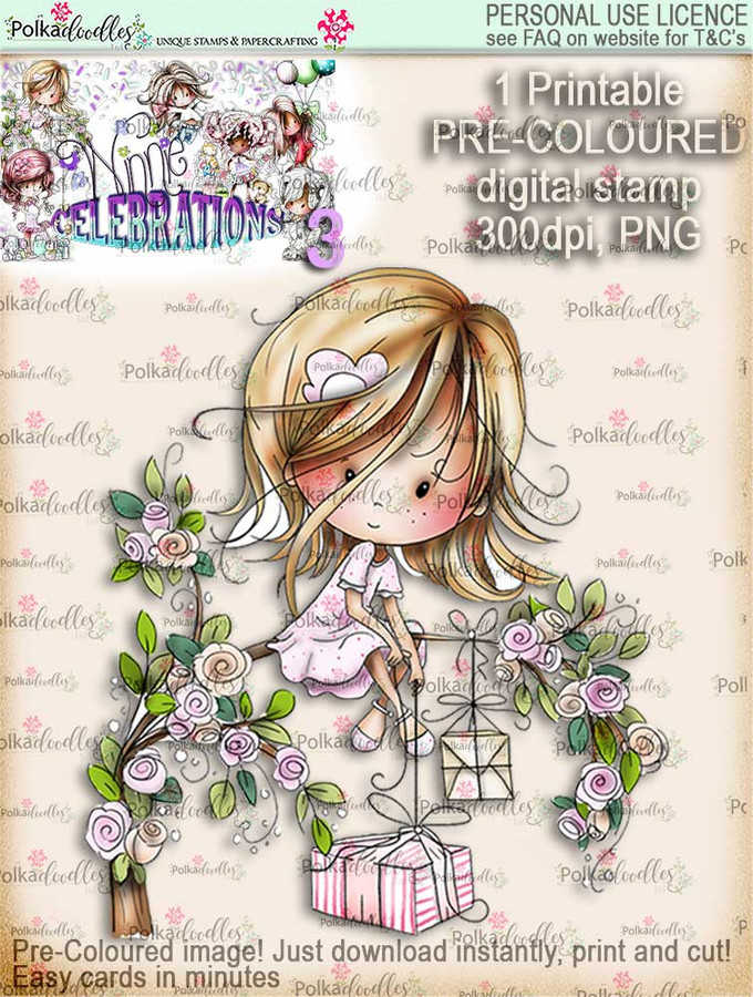 Winnie Celebrations 3...Surprise Gifts COLOURED digi stamp printable download