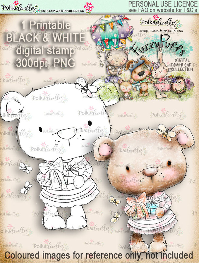Bella Bear Gift - Fuzzypuffs digi stamp printable download