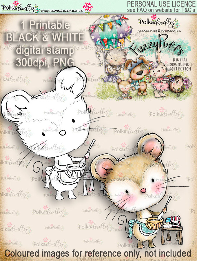 Maisie Mouse Baking a Cake - Fuzzypuffs digi stamp printable download