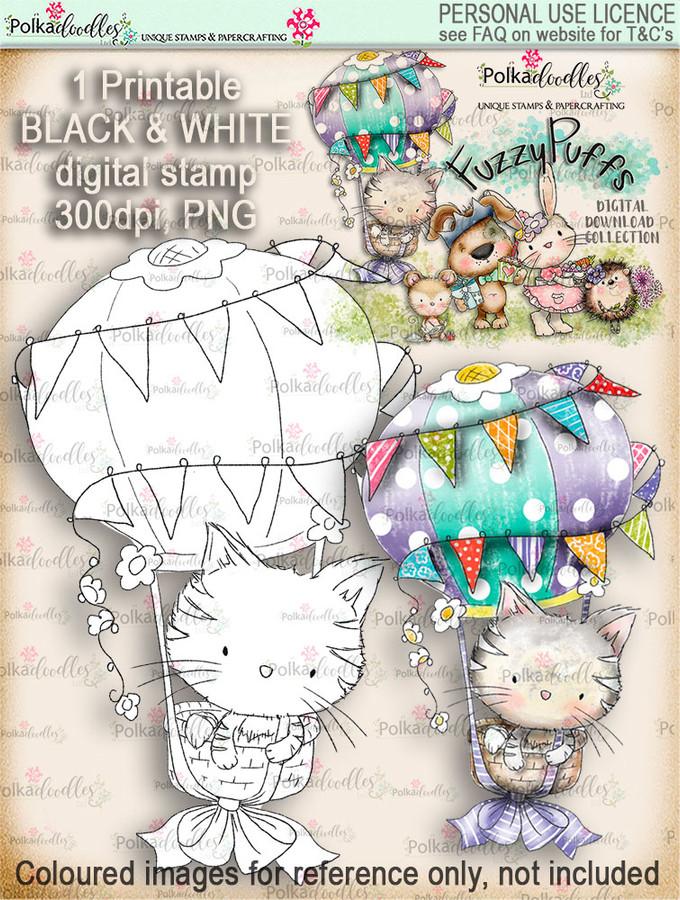 Jasper Hot Air Balloon - Fuzzypuffs digi stamp printable download
