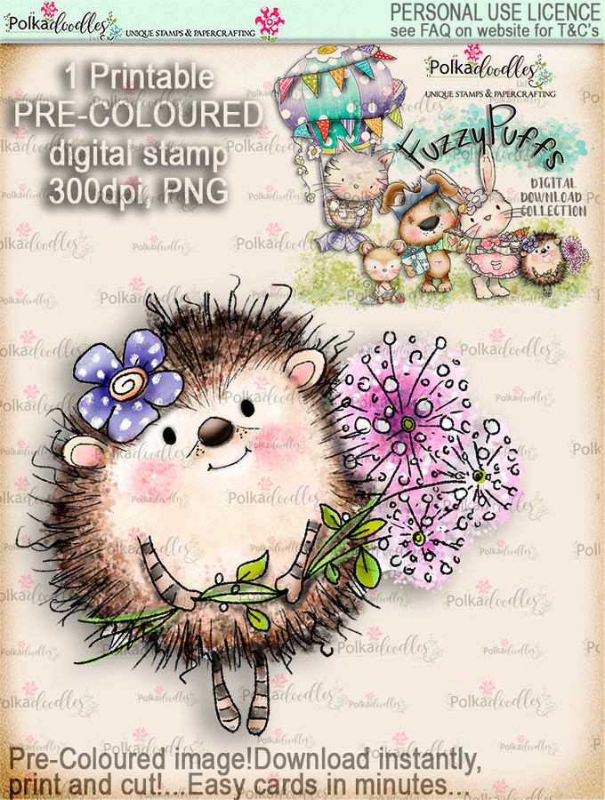 Earlie Hedgehog Dandelion - Fuzzypuffs COLOUR digi stamp printable download