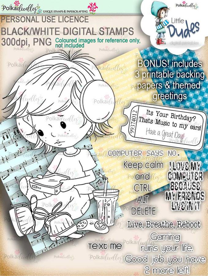 Gamer Little Dude - digi stamp printable download