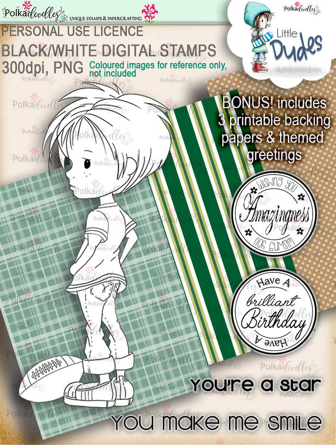Rugby/Football Little Dude - digi stamp printable download