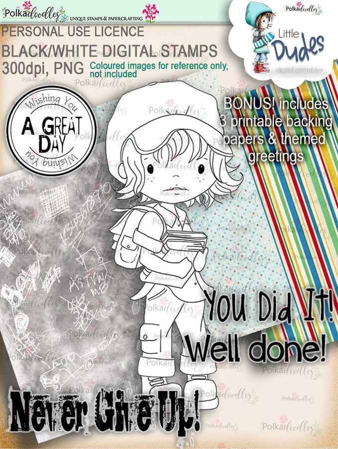 Student Little Dude - digi stamp printable download