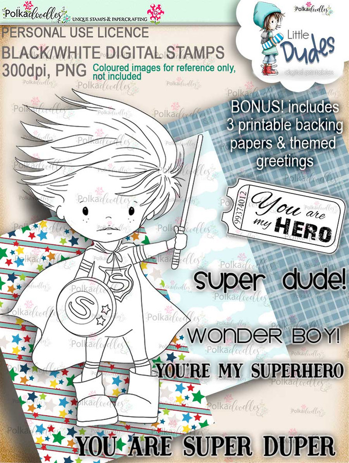 Superhero Little Dude - digi stamp printable download