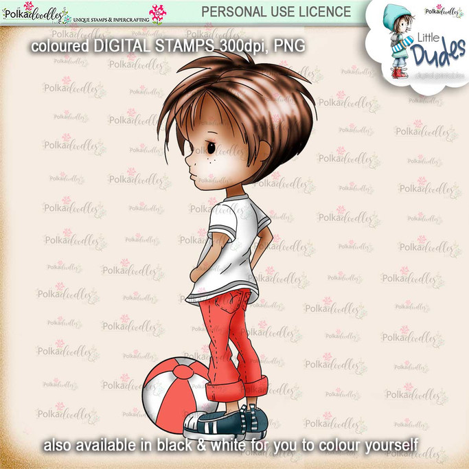 Play Ball 3 - PRECOLOURED Little Dudes digi stamp printable download