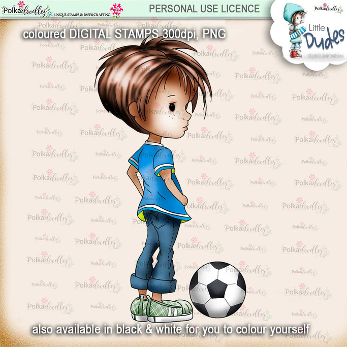 Football/Soccer - PRECOLOURED - Little Dudes digi stamp printable download