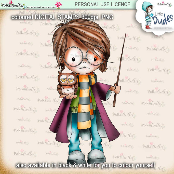 Wizardy Magic -PRECOLOURED  - Little Dudes digi stamp printable download