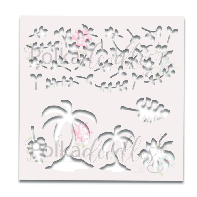 """Tropical Foliage Great Outdoors 6 x 6"""" laser cut stencil"""