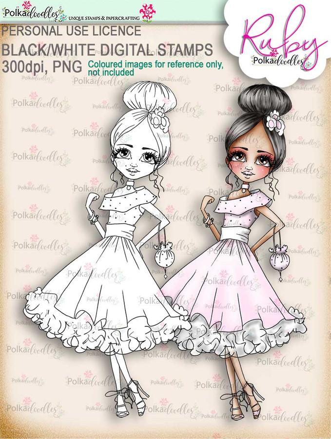 Ruby Prom - black/white digi stamp download - black/white digi stamp download