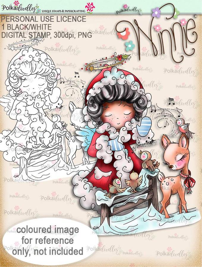 Musical Winter - Winnie Angel. Printable digital stamp download