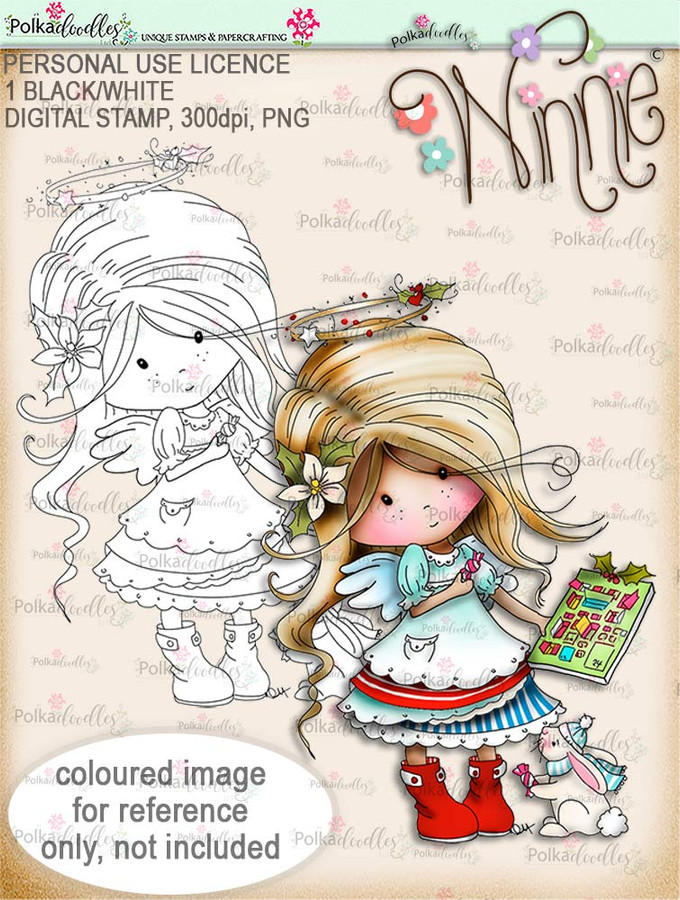 Advent Calendar - Winnie Angel digital stamp download