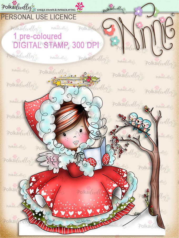 Woodland Songtime - COLOUR Winnie Angel digital stamp download