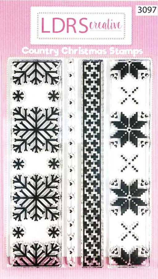 Country Christmas borders and textures - clear stamp set