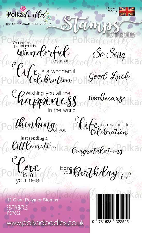 Sentimentals -  clear Polymer stamp set - 12 stamps