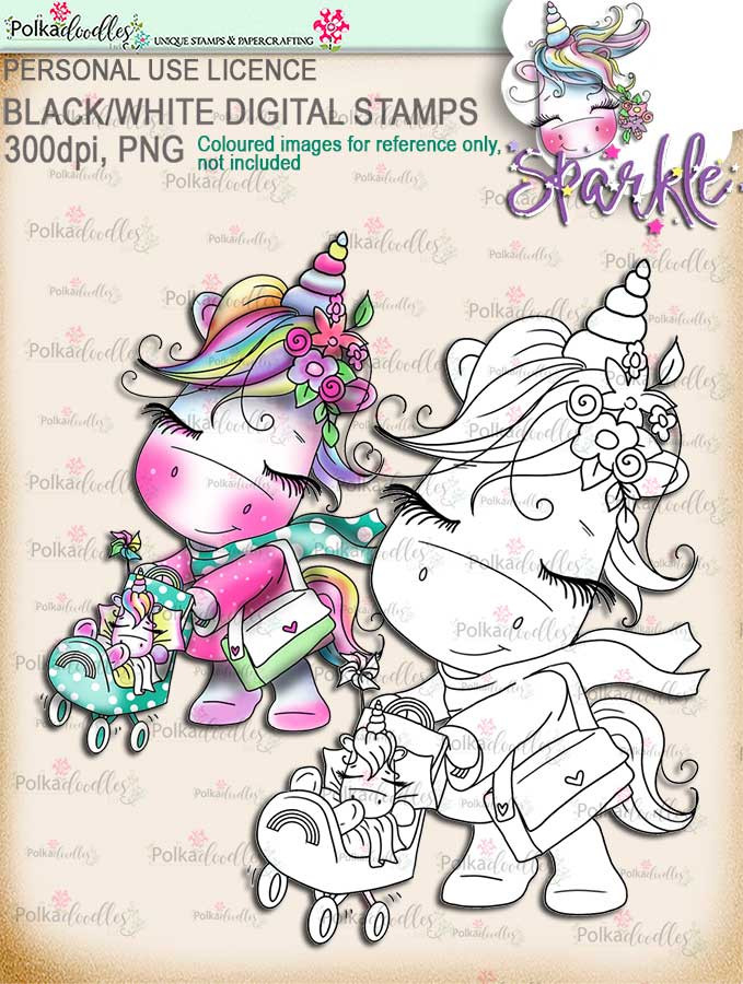 Little One - baby Sparkle Unicorn digi stamp download