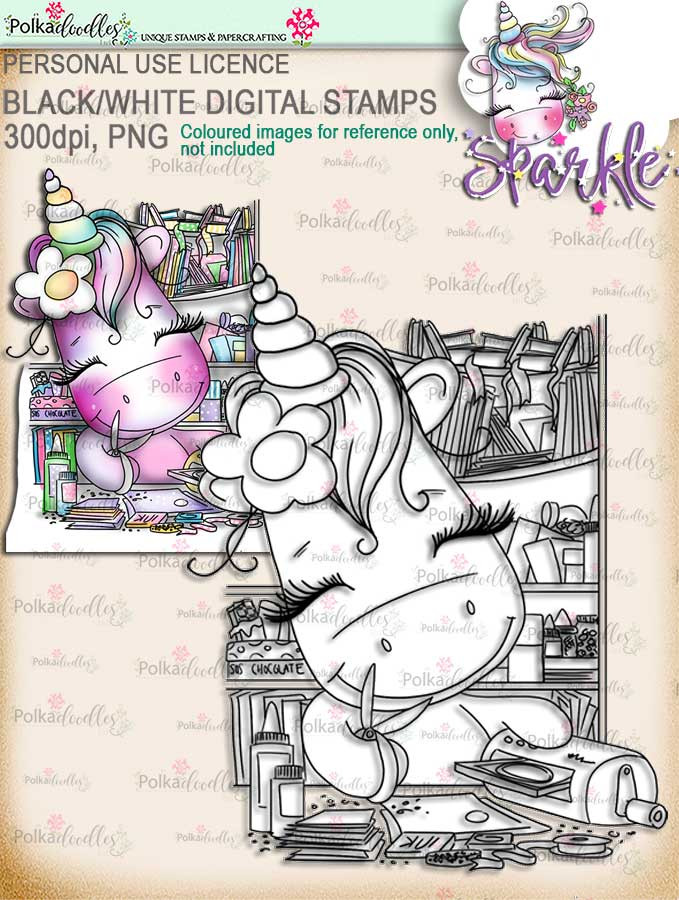 Crafting is the best bit of the day - Sparkle Unicorn digi stamp download printable