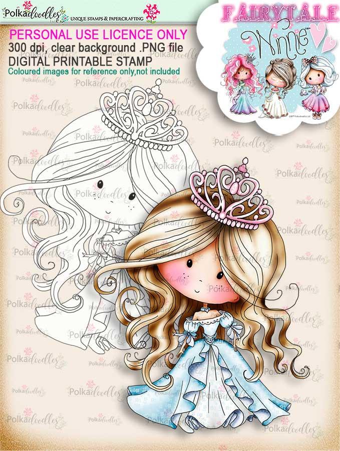 Winnie Belle of the Ball Fairytale digi stamp download