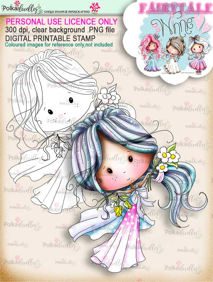 Winnie Fairytale Happy digi stamp download