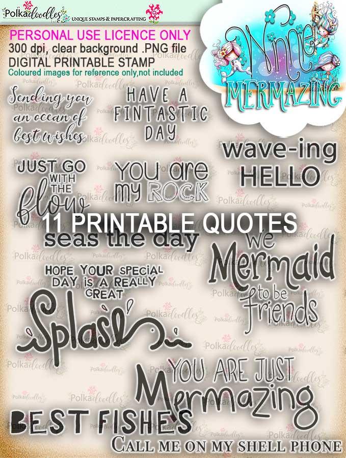Winnie Mermazing Quotes - digital stamp download