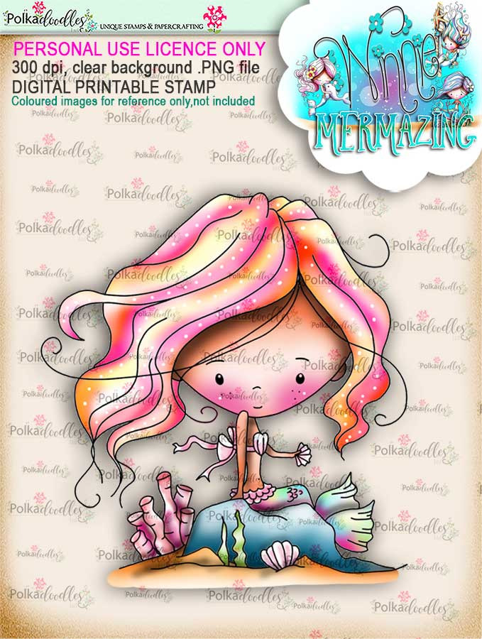 Winnie Mermaid Mermazing (pre-coloured) - Passing Time digital stamp download