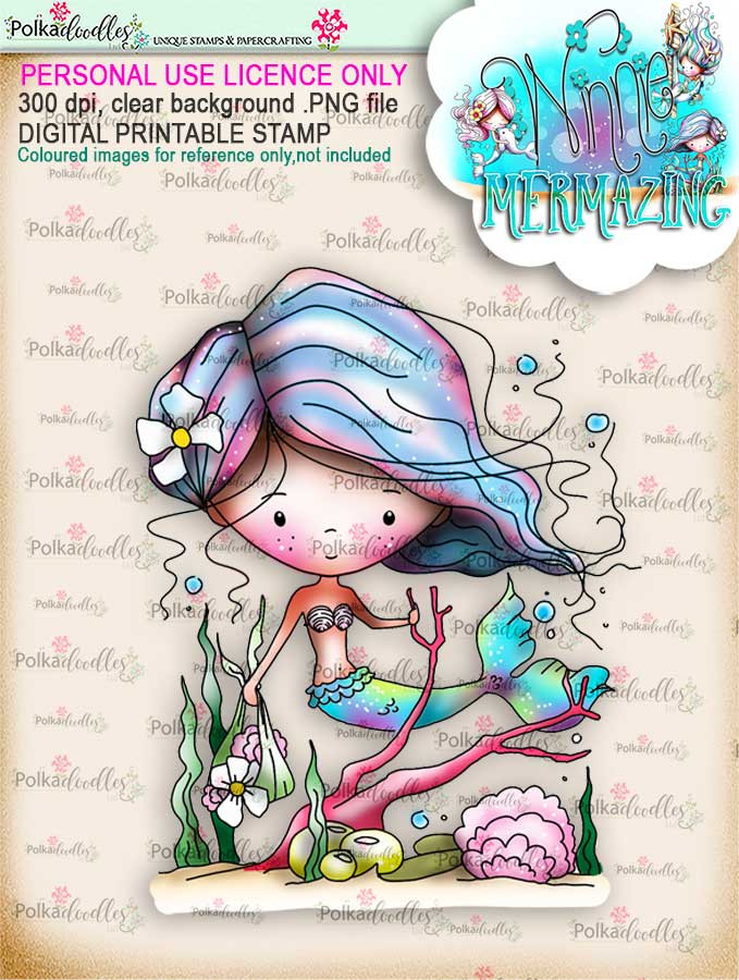 Winnie Mermaid Mermazing (precoloured) - collecting shells digital stamp download