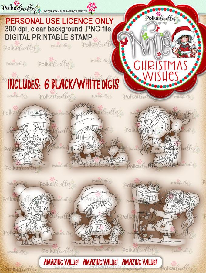 Winnie Christmas Wishes Digi Stamp bundle - digi scrap printable download bundle