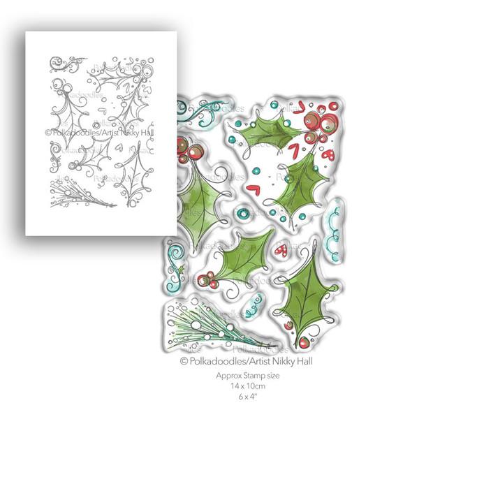 Ho Ho Holly - 11 Clear Polymer stamp set