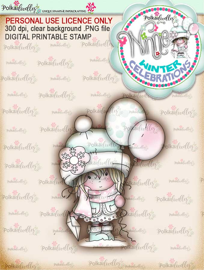 """Celebration- """"precoloured"""" Winnie winter celebration digital papercrafting download  We created this gorgeous printable cardmaking digi for all of you who have Winter Birthdays and Celebration handmade cards to create this year! It can be difficult to find a digital stamp which is perfect for a Christmas Holiday Celebration, so try this lovely Winnie Winter Celebrations collection!   This is a great digital papercraft and scrapbooking download.   Make handmade cards with this cute winter birthday celebration printable digi stamp for downloading and printing at home. Perfect for all those Winter/Holiday/Christmas birthday celebrations you have to make over the winter season."""