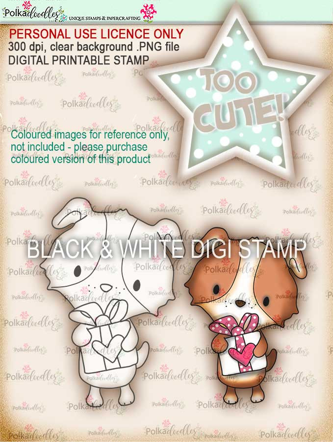 Too Cute Puppy love digital papercrafting download