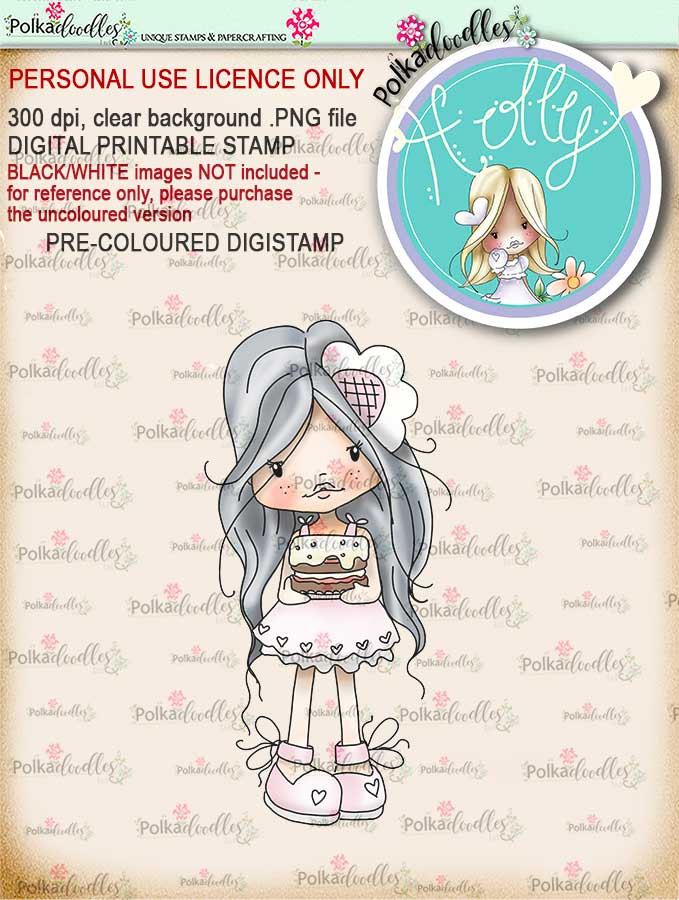 """Holly Cake - """"precoloured"""" digital papercrafting download"""