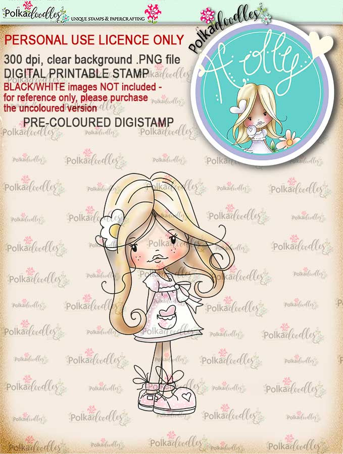 "Holly Hello Pretty ""precoloured"" digital papercrafting download"