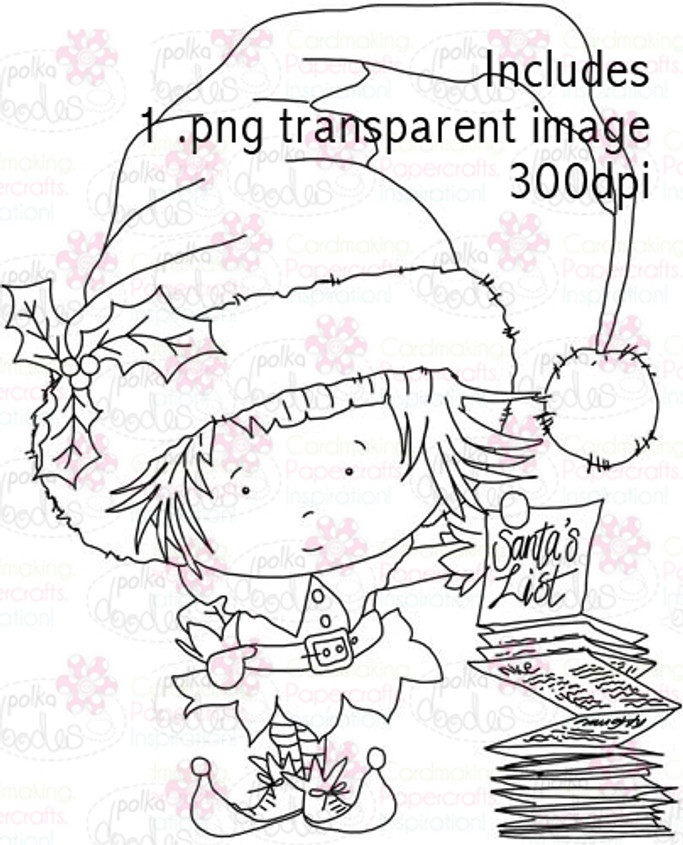 Hollybobs Little Elf digital stamp download
