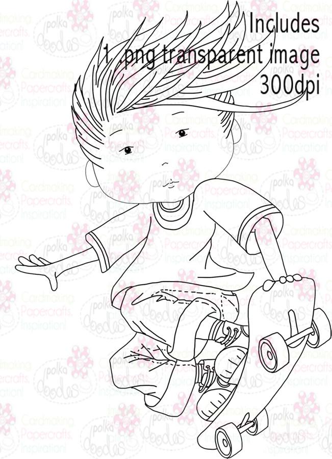 Skateboard, Skateboarder - Digital Stamp Download