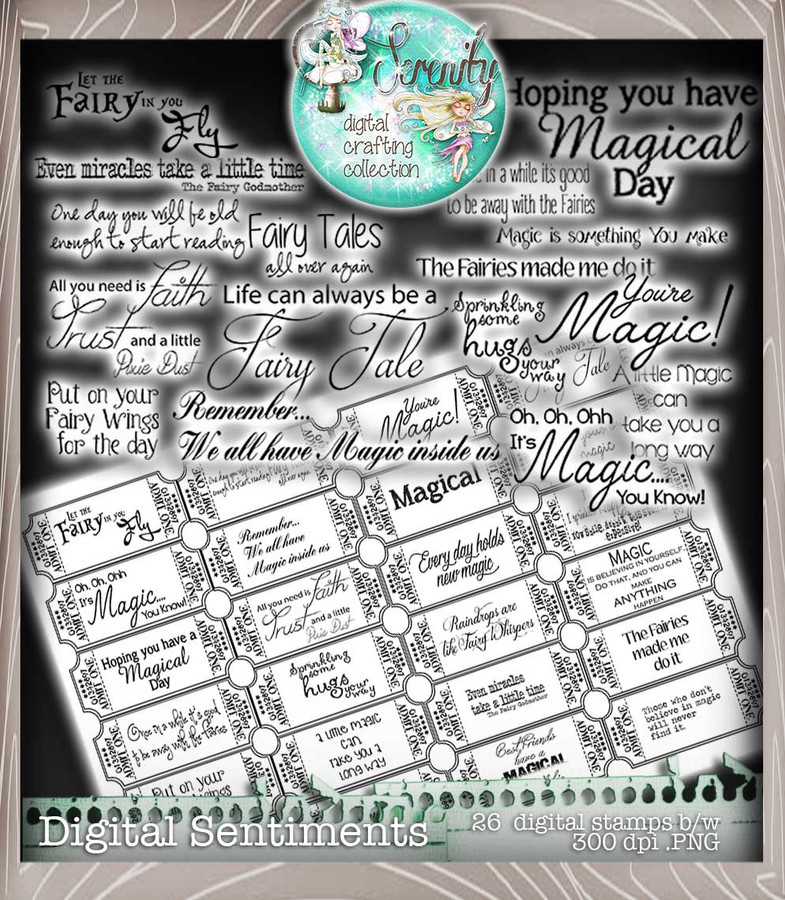Serenity Fairy Wishes Sentimentals - Digital Craft download bundle