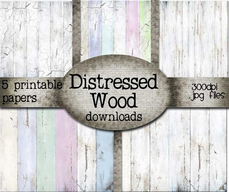 Distressed Wood Printable papers - Digital Craft Stamp download