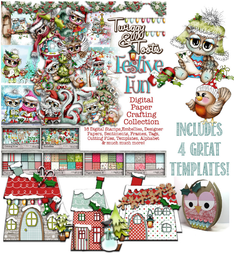 Twiggy & Toots Festive Fun - Downloadable Digital CD Crafting Collection