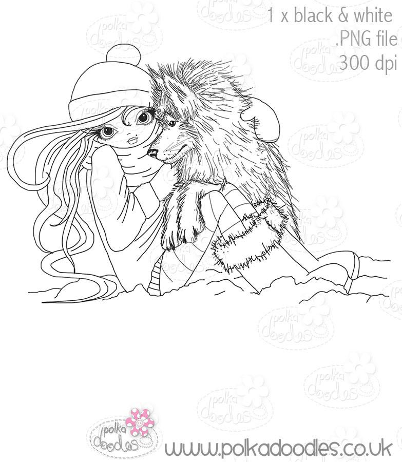 Husky Hugs - Octavia Frosted Winter - Digital STAMP CRAFT Download