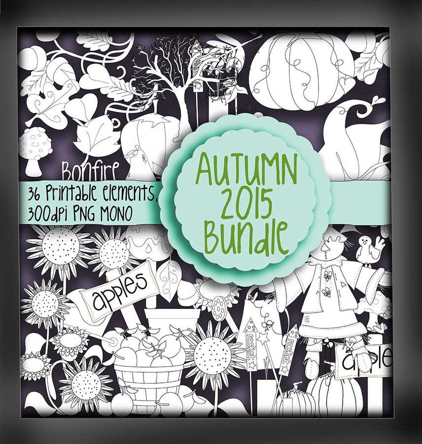 Autumn/Fall digi stamps - MONO - digital download bundle