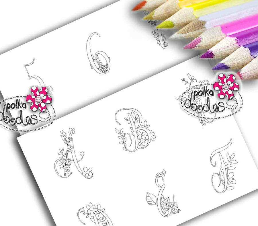 Adult Colouring pages bundle - Alphabet 2 - Downloadable Adult printable Colouring Book Pages