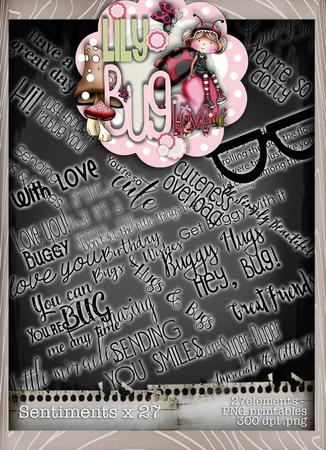 Lily Bug Love Quotes bundle kit - 40 elements included