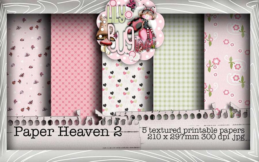 Lily Bug Love Paper Heaven 2 bundle kit (5 papers) - Digital Stamp CRAFT Download